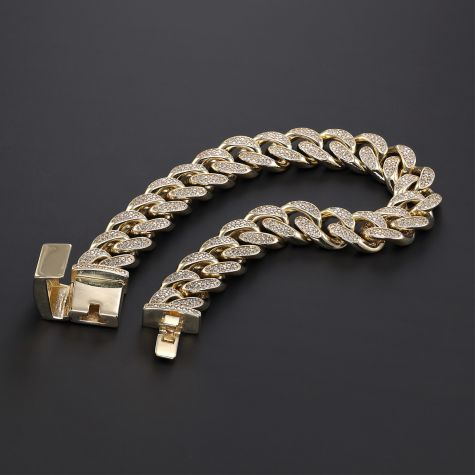9ct Gold Solid Gem-Set Cuban Link Bracelet- 12mm -8.5 inches