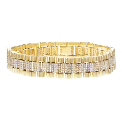 "Rolex Style 9ct Gold Gem Set Presidential Bracelet - 7.5"" - Mens"