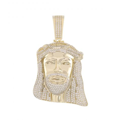 Solid 9ct Yellow Gold Gemset Iced Out 3D Jesus Head Pendant