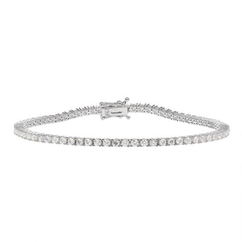 18ct White Gold 2.15ct Diamond Tennis Bracelet - 7.25""