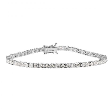 18ct White Gold 4.29ct Diamond Tennis Bracelet -Unisex- 7.25""