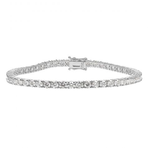 18ct White Gold 6.69ct Diamond Tennis Bracelet -Unisex- 7.25""
