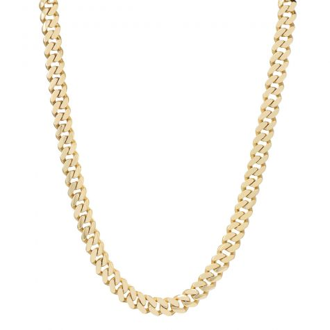 """9ct Solid Yellow Gold Classic Cuban Link Curb Chain - 22"""" - 11mm"""