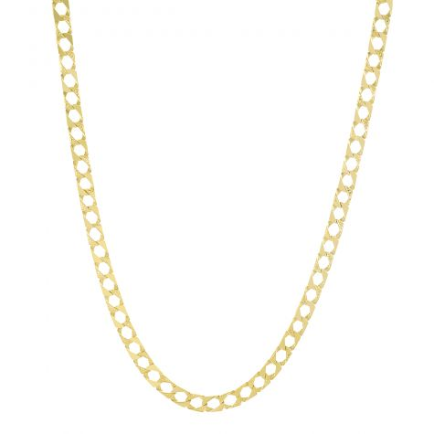 """9ct Yellow Gold Solid Textured Square Curb Chain - 28"""" - 8mm"""