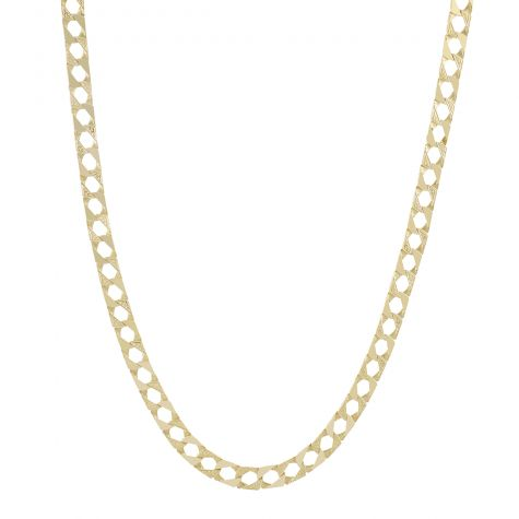"""9ct Yellow Gold Solid Textured Square Curb Chain - 26"""" -  9mm"""
