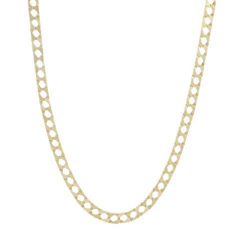 """Childs Size 9ct Gold Solid Textured Square Curb Chain - 14"""" - 9mm"""