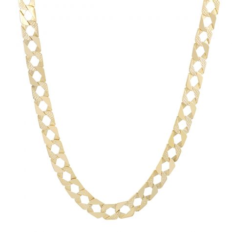 """Solid 9ct Gold Textured Heavy Square Curb Chain - 14mm - 18"""""""