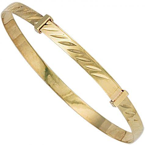 9ct Gold Diamond Cut Design Expandable Bangle - Babies