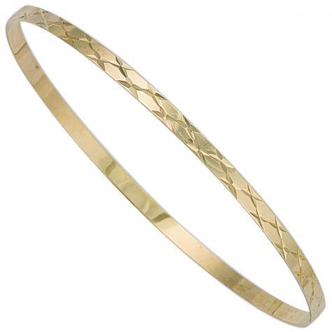9ct Yellow Gold Flat Diamond Cut Slave Bangle - 3mm - Ladies
