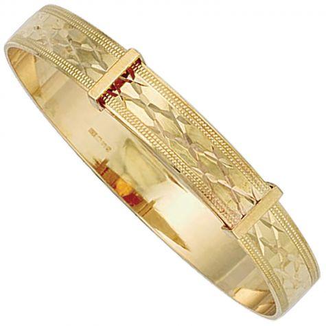 Heavyweight 9ct Gold Diamond Cut Design Expandable Bangle - Babies