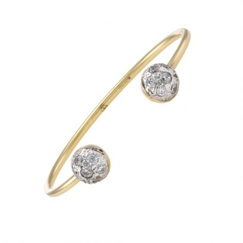 Solid 9ct Yellow Gold polished Gem Set Torque Bangle - Babies
