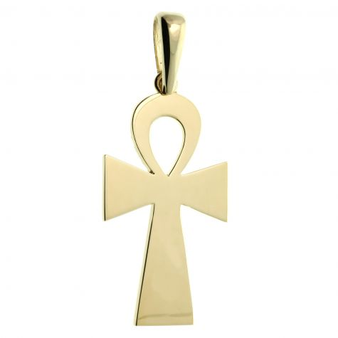 Solid 9ct Yellow Gold Large Polished Classic Ankh Cross Pendant