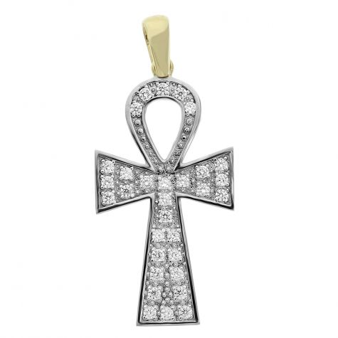 9ct Gold Solid Gem-set Polished  Ankh Cross Pendant - 63mm