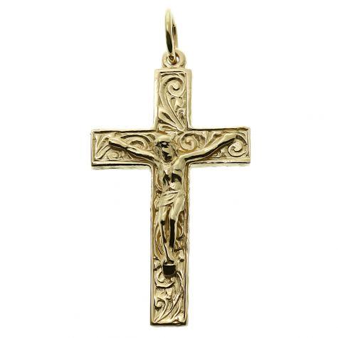 9ct Yellow Gold Ornate Solid Classic Crucifix Cross Pendant