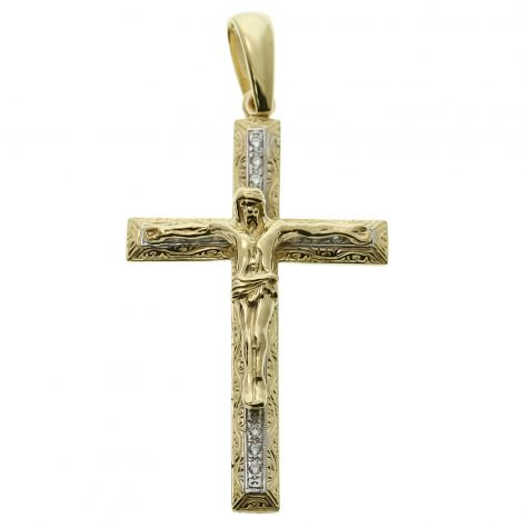 9ct Yellow Gold Ornate Gem-set Classic Crucifix Cross Pendant