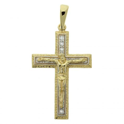 9ct Yellow Gold Gem-set Classic Large Crucifix / Cross Pendant