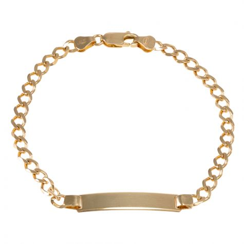 "9ct Yellow Gold Curb Design ID Bracelet - 4.5mm - 7"" - Ladies"