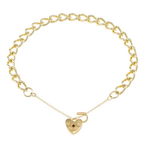 9ct Yellow gold Curb Link charm Bracelet - 5.85mm - Ladies