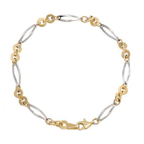 "9ct Yellow & White Gold Fancy Link Bracelet - 4mm - 7"" - Ladies"