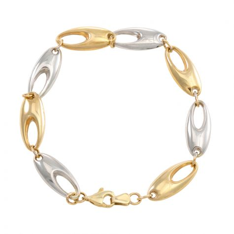 """9ct White & Yellow Gold Polished Oval Link Bracelet - 7""""- Ladies"""