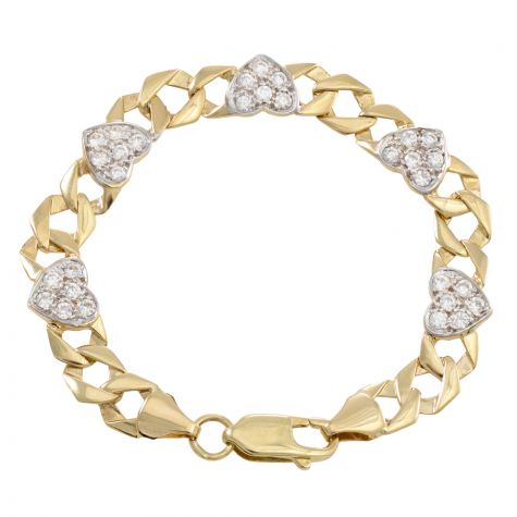 "9ct Yellow Gold Gemset Heart Link Bracelet - 7mm - 6"" - Babies"