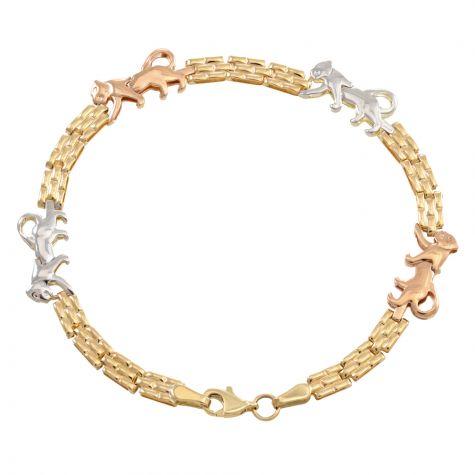 """9ct Yellow, Rose, White Gold Panther Bracelet - 6mm - 7"""" - Ladies"""