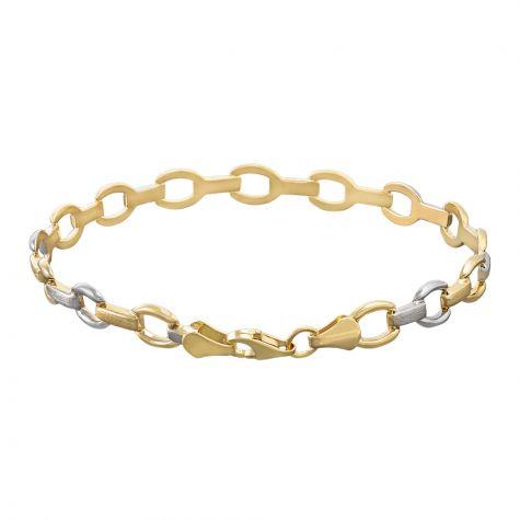 "9ct Yellow & White Gold Fancy Link Bracelet - 6.25mm - 7"" -Ladies"