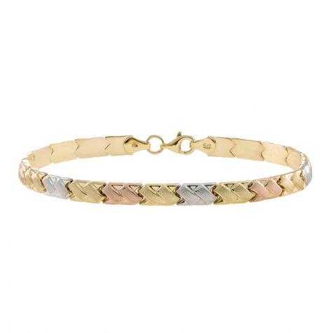 """9ct Yellow, Rose, White Gold Satin Bracelet - 5mm - 7"""" - Ladies"""