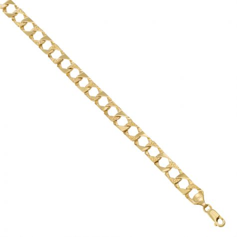 """9ct Solid Gold Textured Square Men's Curb Chain - 23"""" - 8mm"""
