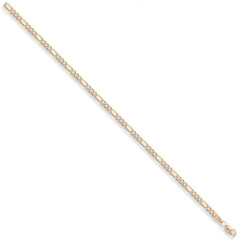 9ct Yellow & White Gold Solid Italian Figaro Chain - 3.3mm  - 22""