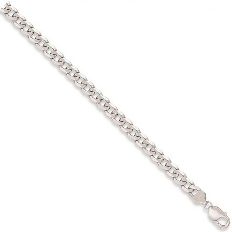 """9ct White Gold Italian Made Bevelled Curb Chain - 5.75mm  - 24"""""""