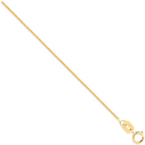 """9ct Yellow Gold Italian Spiga / Wheat Chain - 0.8mm - 16"""" -Ladies"""