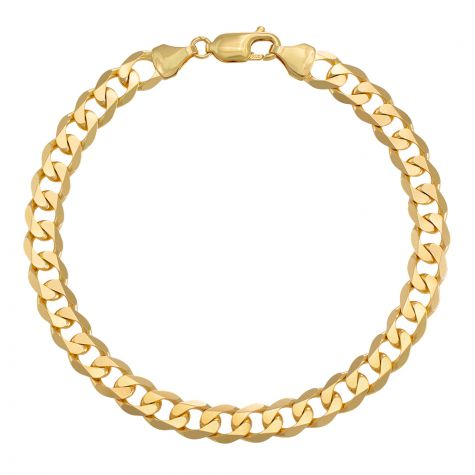 "9ct Yellow Gold Classic Italian Curb Bracelet - 7mm - 8"" - Gents"