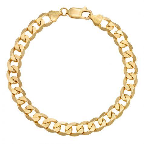 "9ct Yellow Gold Classic Italian Curb Bracelet - 8.5mm - 8"" - Gents"