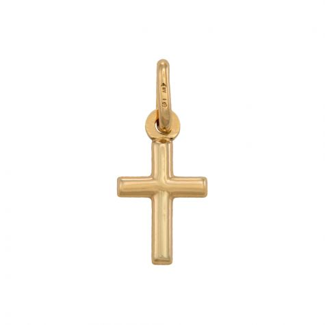 9ct Yellow Gold Small Hollow Polished Cross Pendant / Charm -19mm