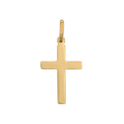9ct Yellow Gold Small Flat Polished Cross Pendant - 27mm