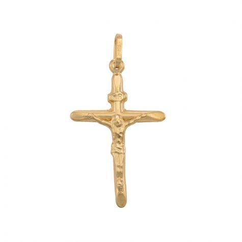 9ct Yellow Gold Lightweight Crucifix Cross Pendant - 32mm