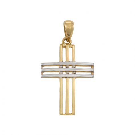 9ct Yellow & White Gold Fancy Cut-out Cross Pendant - 26mm