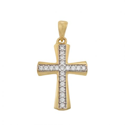 9ct Yellow Gold Small Gem-set Polished Cross Pendant - 24mm
