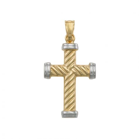 9ct Yellow & White Gold Polished Twist Design Cross Pendant - 36mm