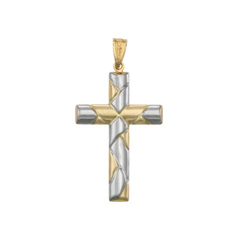 9ct Yellow & White Gold Oval Tubed Hollow Cross Pendant - 41mm