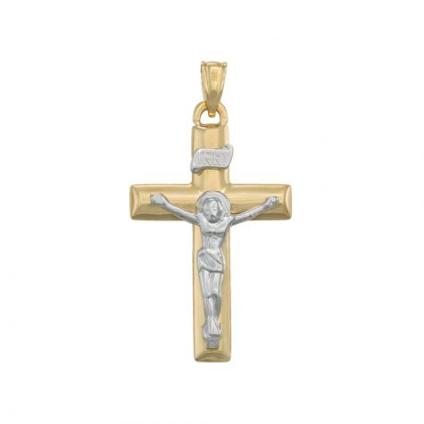 9ct Yellow & White Gold Hollow Crucifix Cross Pendant - 41mm