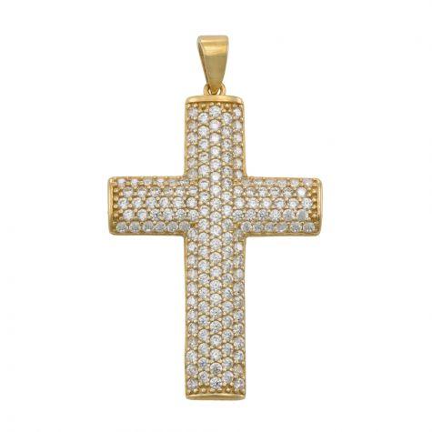 9ct Yellow Gold Flat solid Gemset Cross Pendant - 36mm
