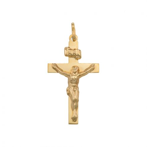 9ct Yellow Gold Flat solid Crucifix Cross Pendant - 38mm