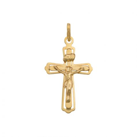 9ct Yellow Gold Cut-out Crucifix Cross Pendant - 35mm