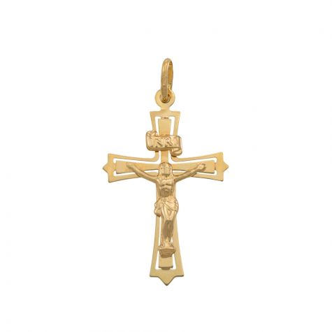 9ct Yellow Gold Cut-out Crucifix Cross Pendant - 40mm