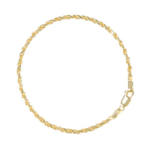 "SOLID 9ct Gold Diamond Cut Rope Bracelet - 3mm - 7.5"" Ladies"