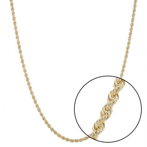 """9ct Yellow Gold Italian Classic Thin Rope Chain - 2.5mm - 22"""""""
