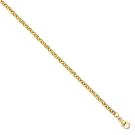 """9ct Yellow Gold Polished Round Link Belcher Chain - 22"""" - 4 mm"""