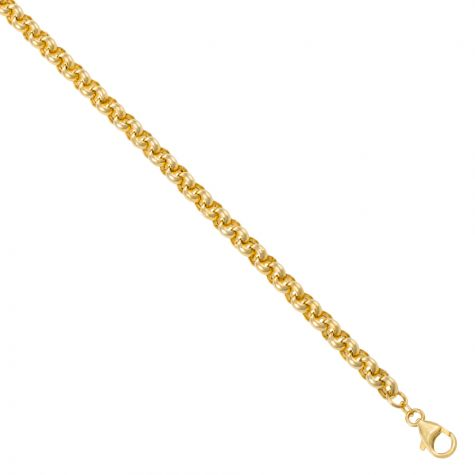 """9ct Yellow Gold Polished Round Link Belcher Chain - 28"""" - 6 mm"""